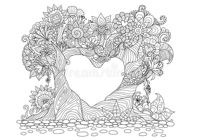 Abstracte bomen in het ontwerp van de de lijnkunst van de hartvorm voor het kleuren van boek royalty-vrije illustratie