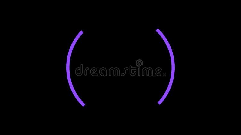 Abstracte boog twee gaf neonlijnen gestalte die in een cirkel zich één voor één op zwarte achtergrond, naadloze lijn bewegen anim stock illustratie