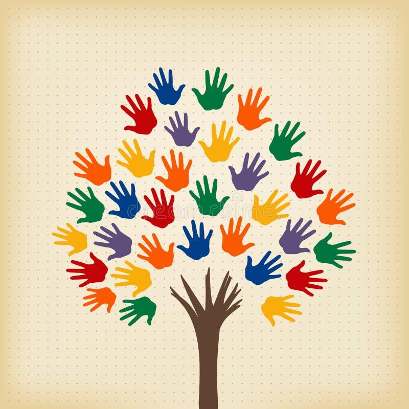 Abstracte boom met open handen vector illustratie