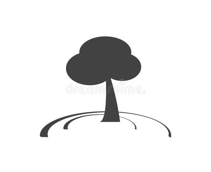 Abstracte boom op een weidesymbool in zwart-wit Vlak pictogram Schoon ontwerp vector illustratie