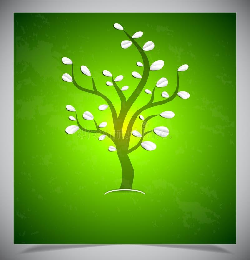 Download Abstracte Boom Op Groene Achtergrond. Vector Illustratie - Illustratie bestaande uit element, artistiek: 39106188