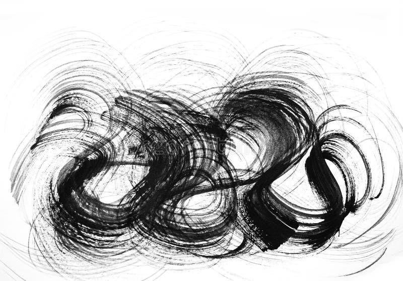 Abstracte borstelslagen en plonsen van verf op Witboek wat stock illustratie