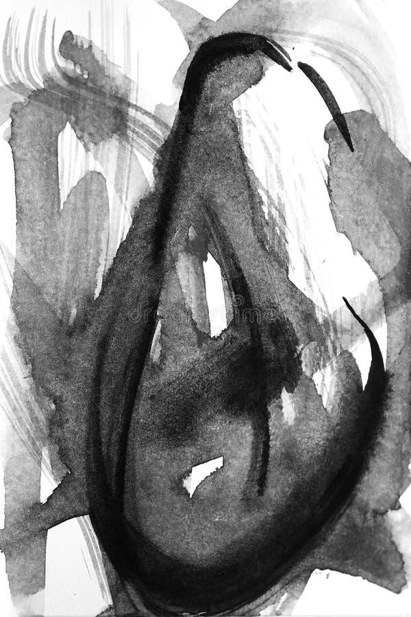 Abstracte borstelslagen en plonsen van verf op Witboek wat royalty-vrije illustratie
