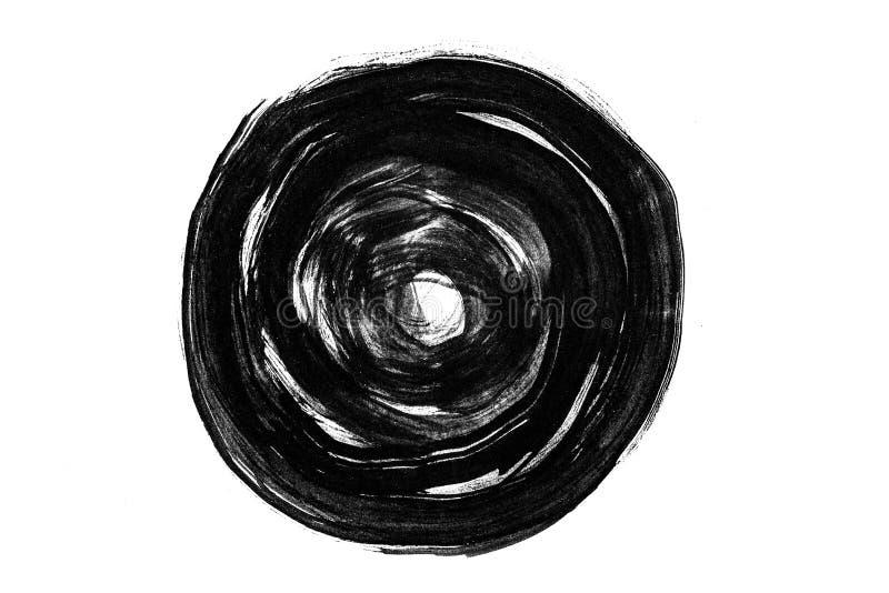 Abstracte borstelslagen en plonsen van verf op Witboekrug stock illustratie