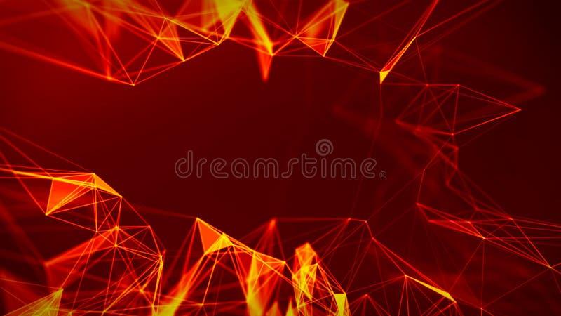 Abstracte Brand rode Geometrische Achtergrond Futuristische technologiestijl Het teken van het neon HUD-element Elegant Grote Geg stock illustratie