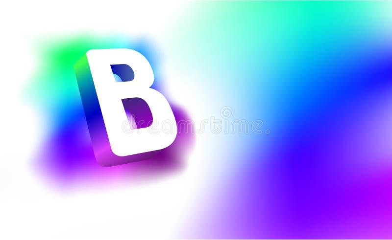 Abstracte Brief B Malplaatje van de creatieve collectieve identiteit van het gloed 3D embleem van bedrijf of merknaambrief B Witt royalty-vrije illustratie