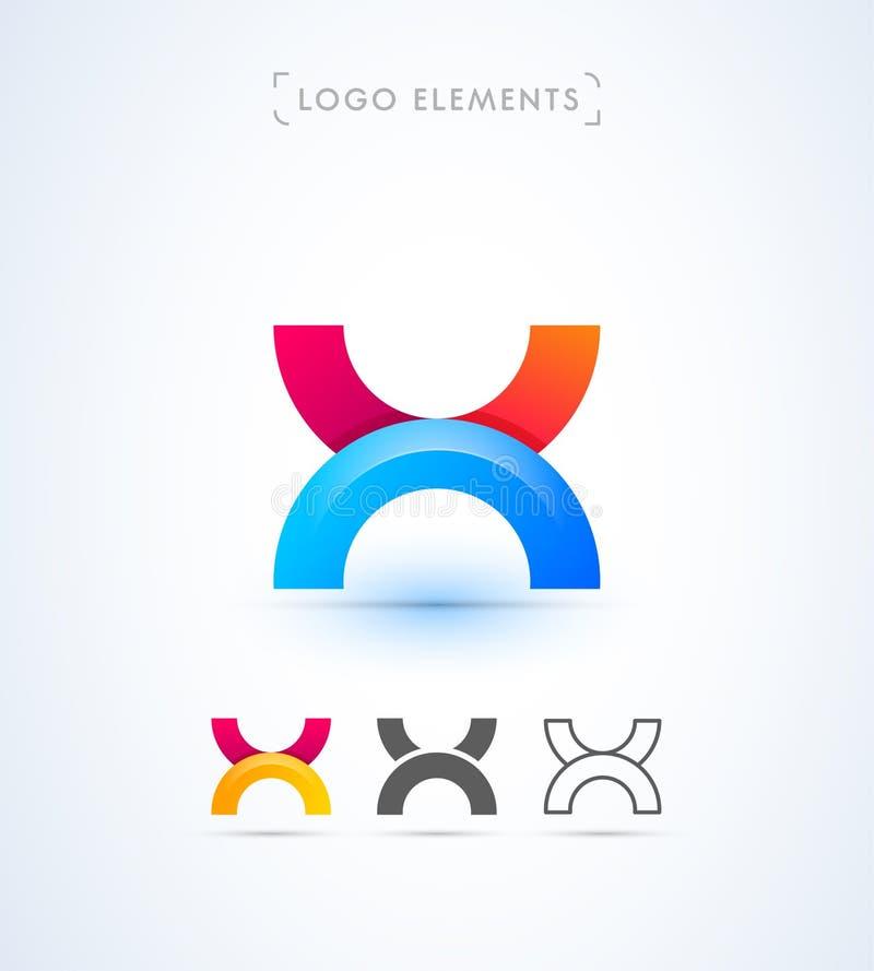 Abstracte brief X het embleemmalplaatje van de origamistijl Toepassingspictogram vector illustratie
