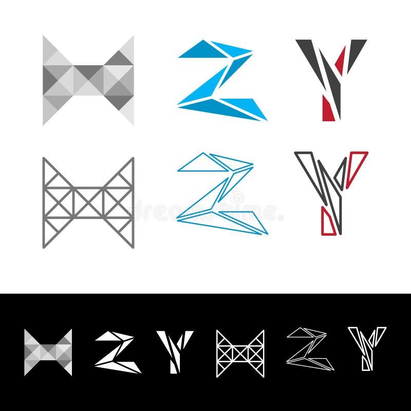 Abstracte brief Y logotype Het universele geometrische pictogram van de symbooldoopvont royalty-vrije illustratie