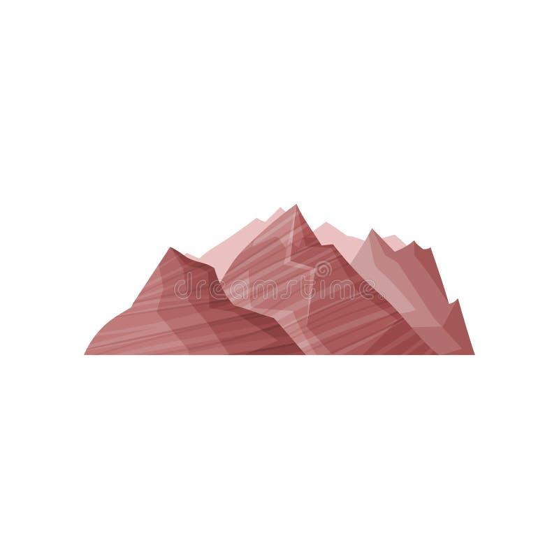 Abstracte bruine berg, openluchtontwerpelement, aardlandschap, bergachtige de geologie vectorillustratie stock illustratie