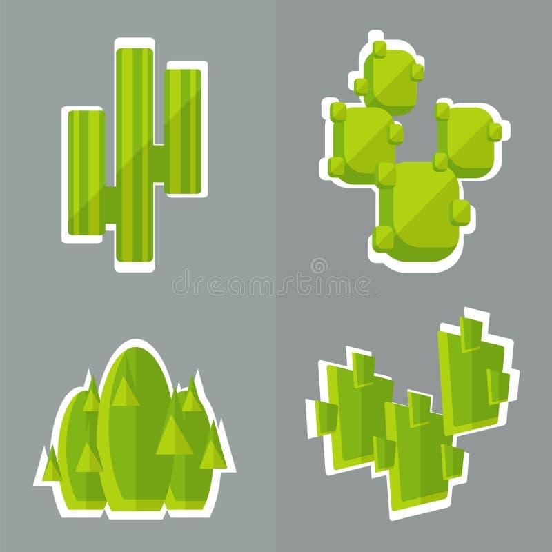 Abstracte cactus vlakke stijl stock illustratie