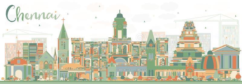Abstracte Chennai-Horizon met Kleurenoriëntatiepunten vector illustratie