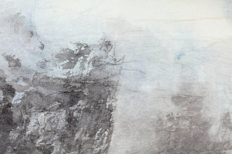 Abstracte Chinese het schilderen kunst op grijs document stock fotografie