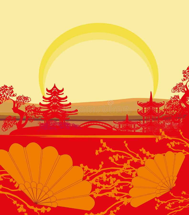 Abstracte Chinese landschapskaart royalty-vrije illustratie