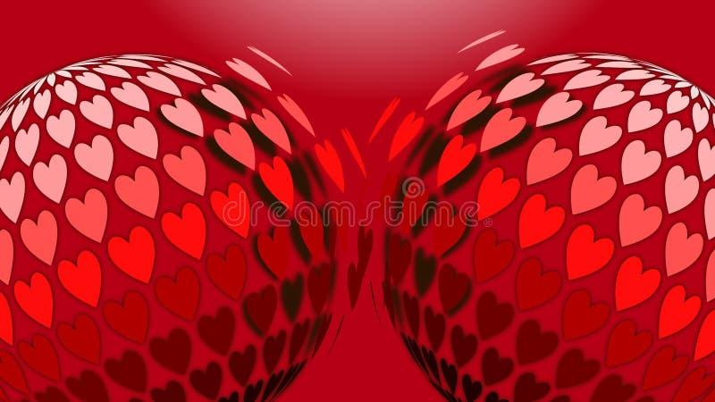 Abstracte cijfers van dezelfde grootte met donkerrode harten op een rode kleur royalty-vrije illustratie