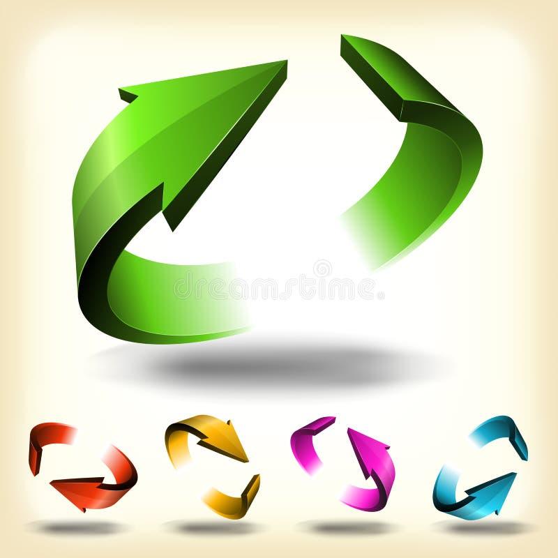 Abstracte Cirkel Geplaatste Pijlen stock illustratie