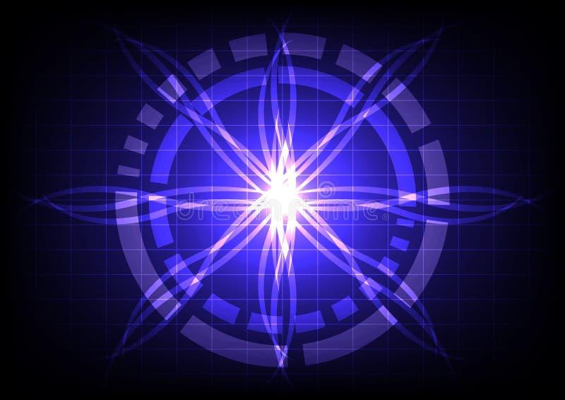 Abstracte cirkel op donkerblauwe lichte straaleffect technologie royalty-vrije illustratie
