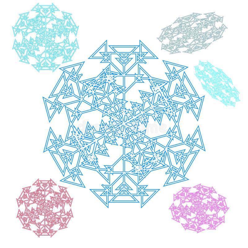 Abstracte cirkel, sneeuwvlok van driehoeken Mooie reeks stock illustratie
