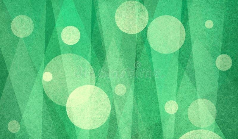 Abstracte cirkels en driehoeken in groen en geel geweven ontwerp als achtergrond vector illustratie