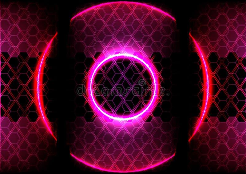 Abstracte cirkelverlichting en hexagon technologie als achtergrond royalty-vrije illustratie