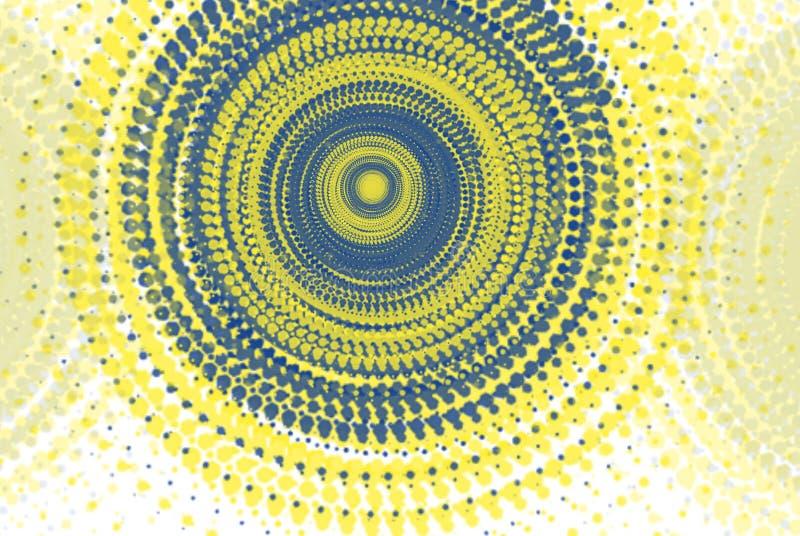 Abstracte cirkelvormen in blauwe en gele tonen royalty-vrije illustratie