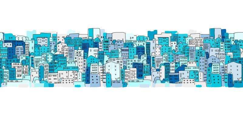 Abstracte cityscape achtergrond, naadloos patroon voor uw ontwerp royalty-vrije illustratie