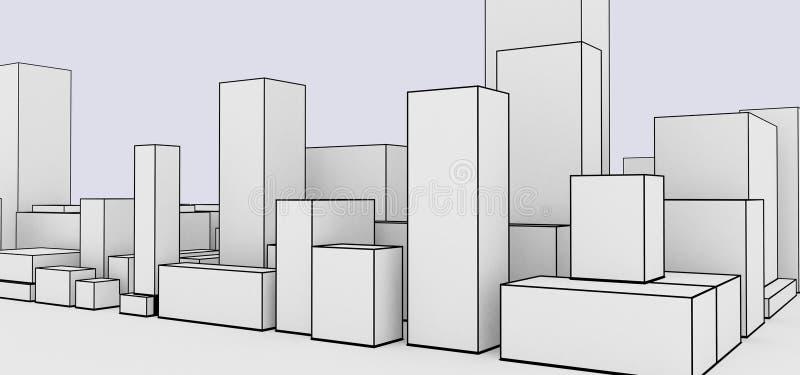 Abstracte cityscape beeldverhaalstijl stock illustratie