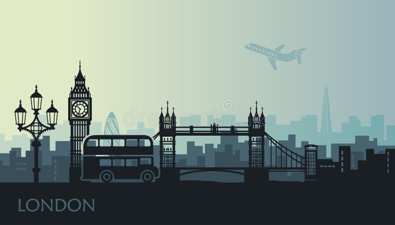 Abstracte cityscape van Londen met de gezichten bij zonsondergang stock illustratie