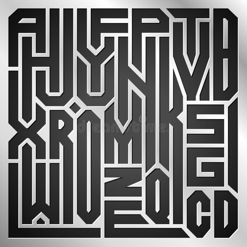 Abstracte collage van brieven van het alfabet van A aan Z op metaalachtergrond stock illustratie