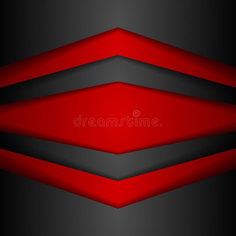Abstracte collectieve moderne rode en zwarte achtergrond stock illustratie