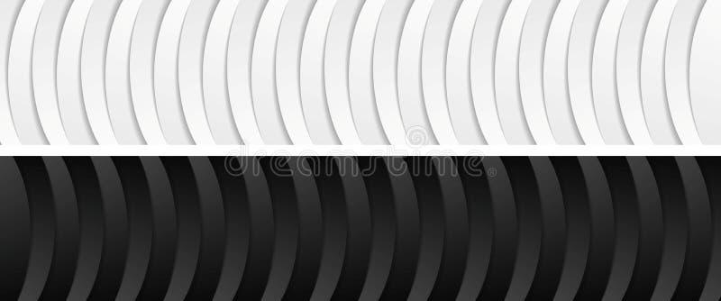 Abstracte collectieve zwart-witte golvende banners royalty-vrije illustratie