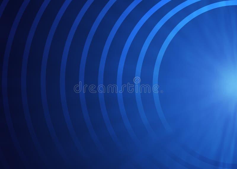 Abstracte Concentrische Halve Cirkels op Blauwe Achtergrond vector illustratie