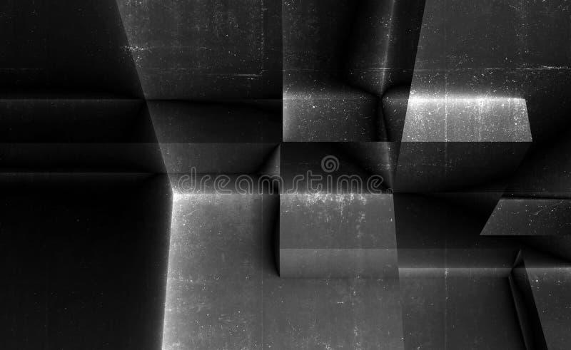 Abstracte concrete achtergrond, donker 3d art. stock afbeeldingen