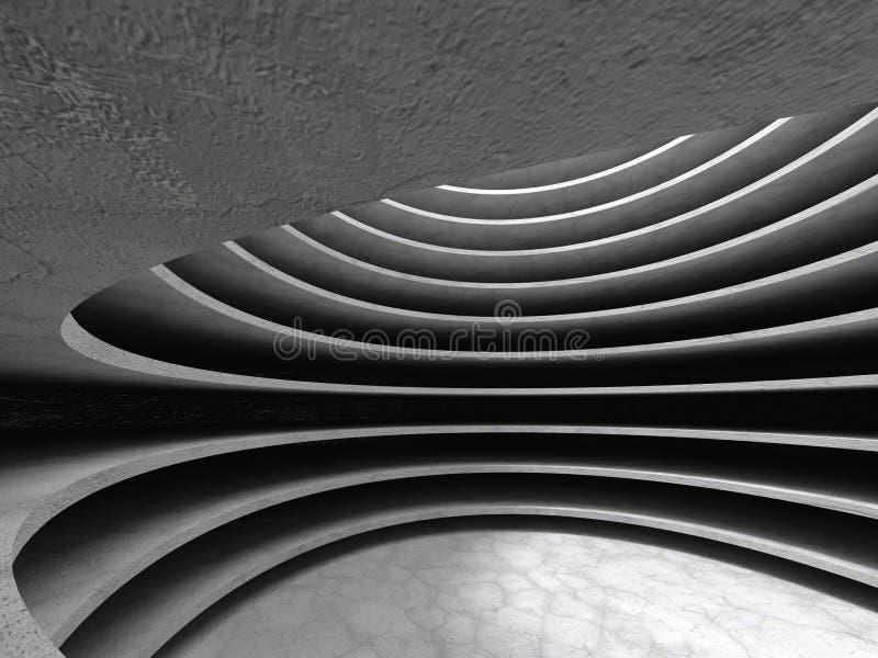Abstracte concrete de zaalachtergrond van de architectuurcirkel stock foto's