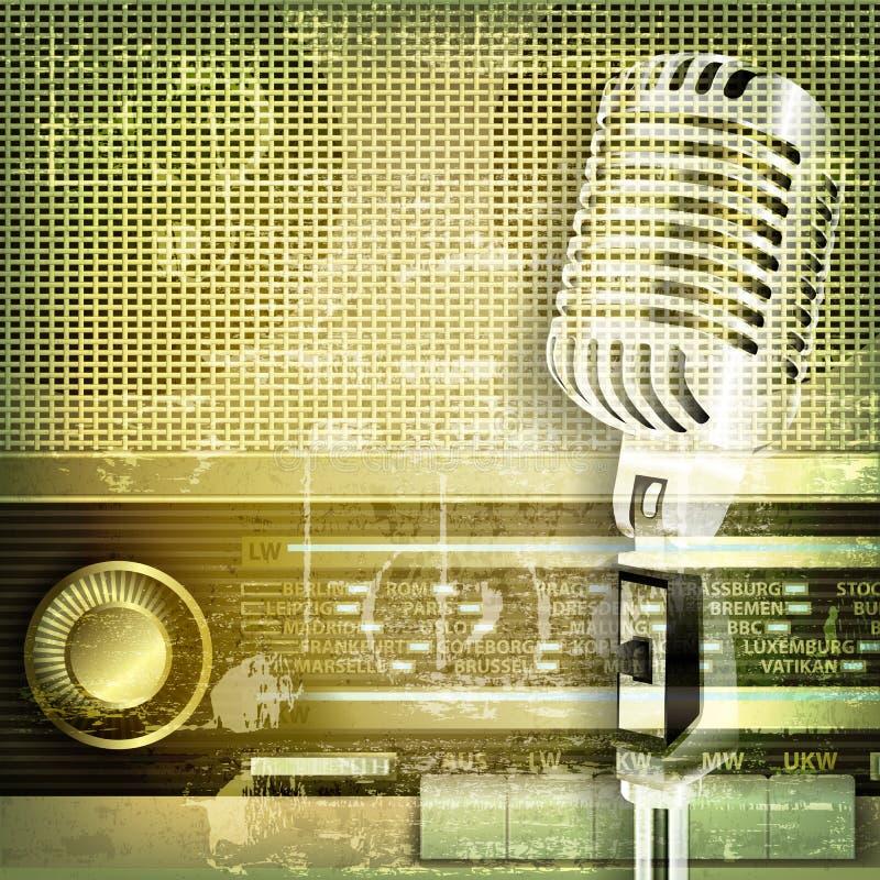 Abstracte correcte grungeachtergrond met microfoon en retro radio royalty-vrije illustratie