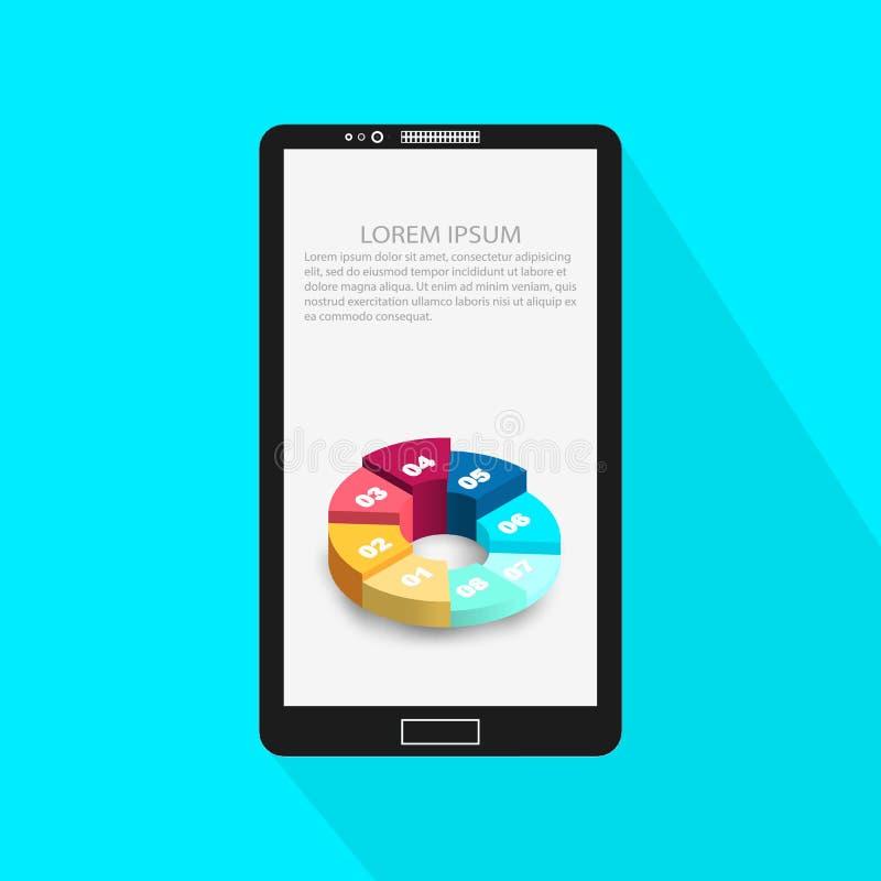 Abstracte Creatieve conceptenachtergrond van moderne Mobiele telefoon met Infographic-ontwerpmalplaatje Bedrijfs concept Vector royalty-vrije illustratie
