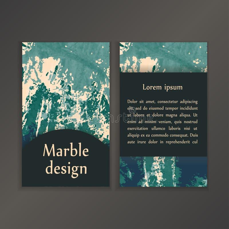 Abstracte creatieve kaartmalplaatjes Huwelijken, menu, uitnodigingen, verjaardag, adreskaartjes met marmeren textuur in in vector illustratie