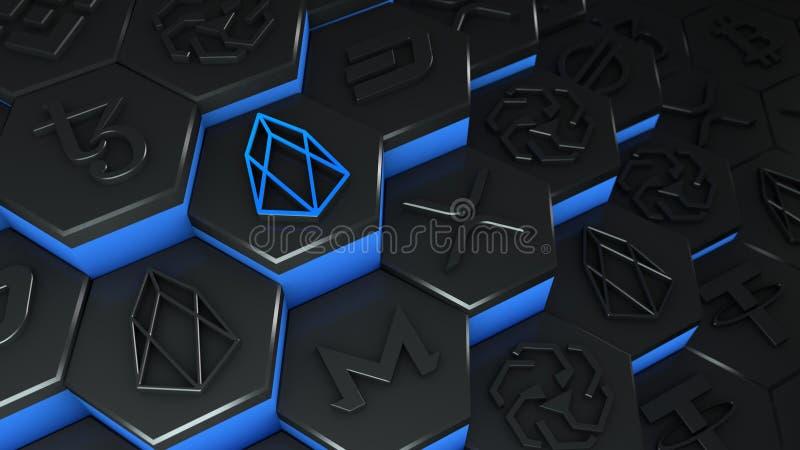 Abstracte cryptovaluta van de munt van EOS met blockchain network verbinding in blockchain conceptual 3d illustratie vector illustratie
