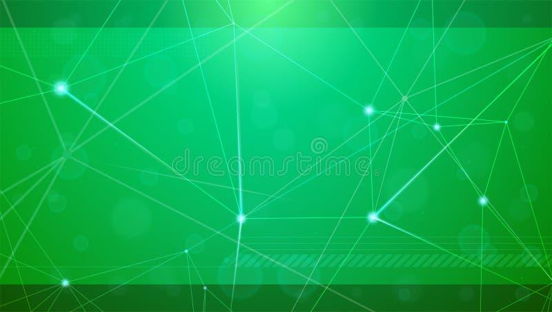 Abstracte cyberachtergrond Concept digitaal netwerkvlecht Geometrisch die net met punten door lijnen worden verbonden Vector stock illustratie