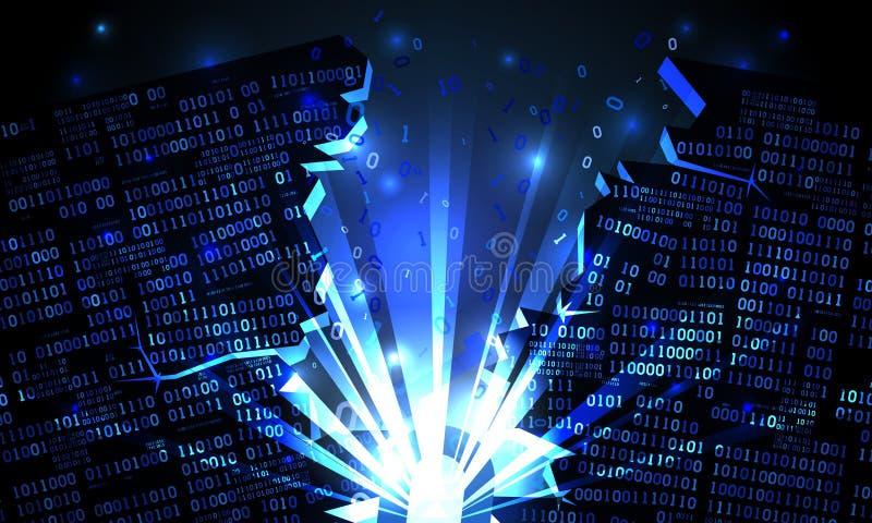 Abstracte cyberspace met een binnendrongen in een beveiligd computersysteem serie van binaire gegevens, explosie met stralen van  royalty-vrije illustratie