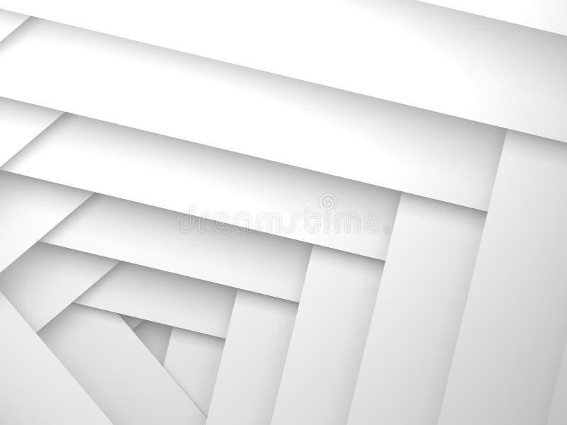 Abstracte 3d achtergrond, het witte patroon van kaderlagen stock illustratie