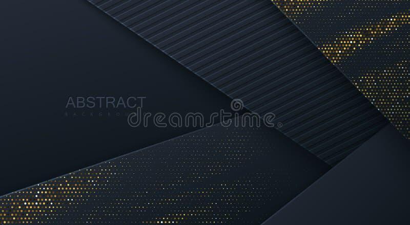 Abstracte 3d achtergrond met zwarte document lagen vector illustratie