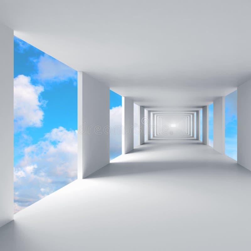 Abstracte 3d architectuur, gang met hemel op achtergrond royalty-vrije illustratie