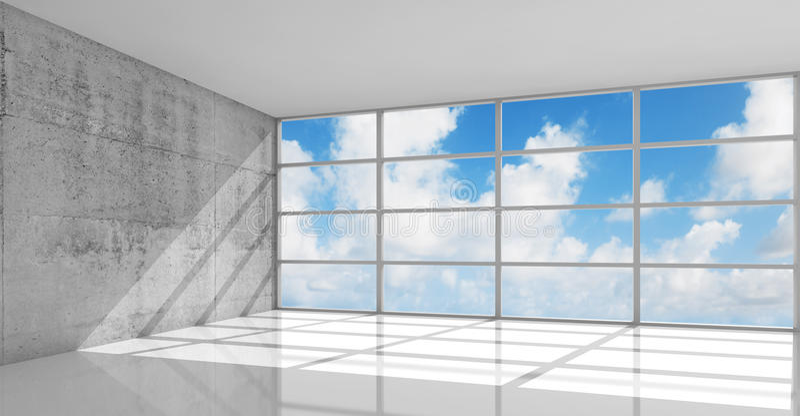 Abstracte 3d architectuur, lege concrete binnenlands, royalty-vrije illustratie