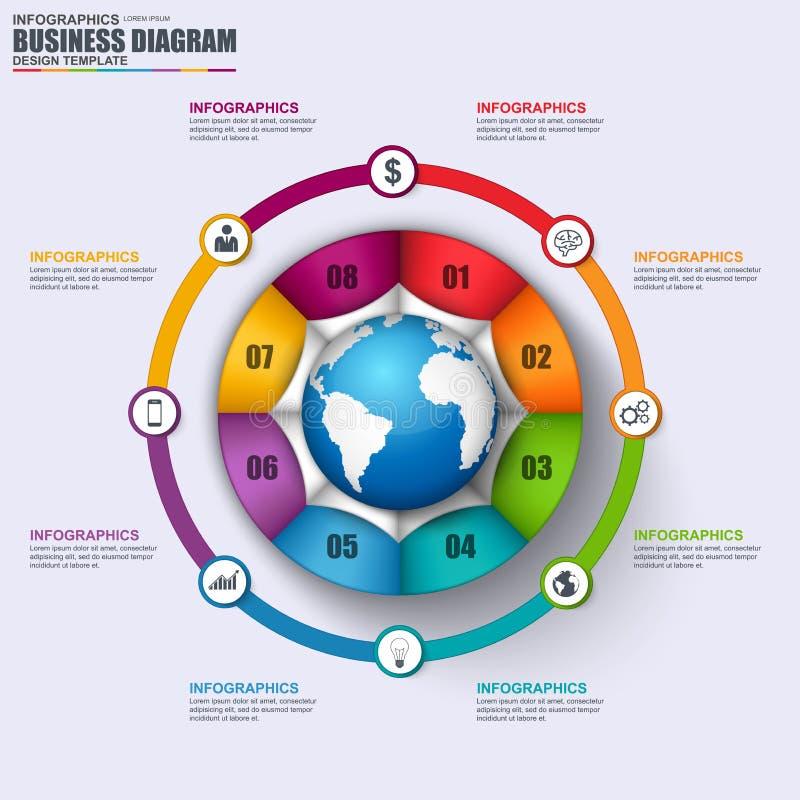 Abstracte 3D bedrijfschronologie Infographic Kan voor werkschemalay-out, gegevensvisualisatie, bedrijfsconcept met 8 opties worde stock illustratie