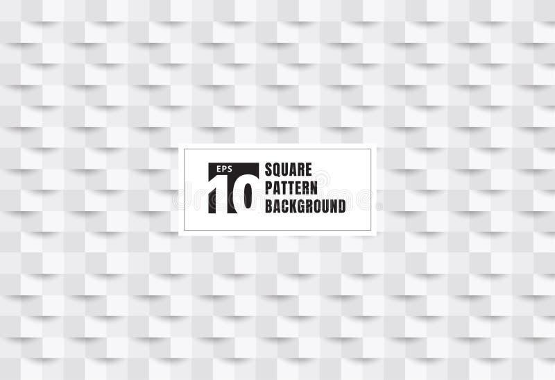 Abstracte 3D de stijltextuur en achtergrond van de Witboekkunst Geometrisch vierkantenpatroon met schaduw U kunt voor dekkingsont stock illustratie