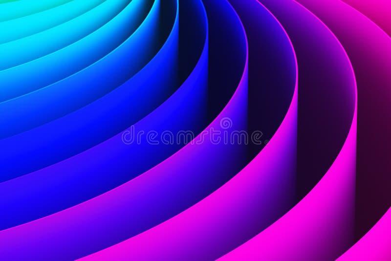 Abstracte 3D de vormachtergrond van de kleurenkromme stock illustratie