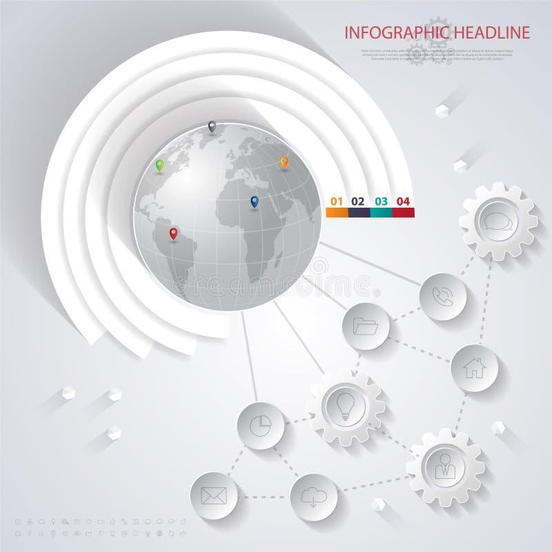 Abstracte 3D digitale illustratie Infographic met wereldkaart kan vector illustratie