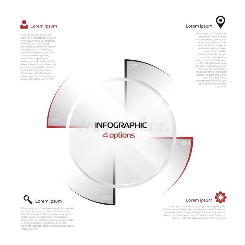 Abstracte 3D digitale illustratie Infographic 4 vier opties stock illustratie