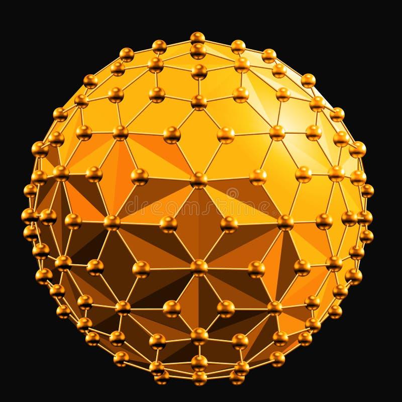 Abstracte 3d gefacetteerde bal met de lijnen van gebiedenverbindingen vector illustratie