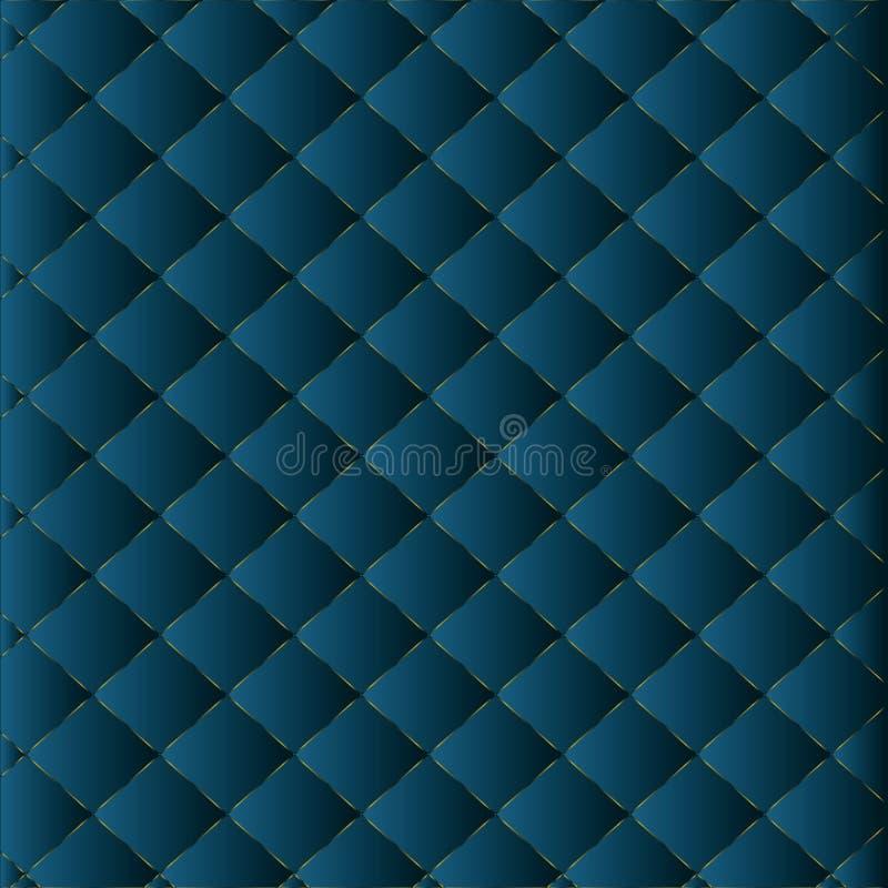 Abstracte 3d geometrische patroonluxe donkerblauw met goud royalty-vrije illustratie